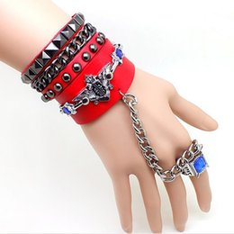 $enCountryForm.capitalKeyWord Australia - Punk Multi-layer Leather Bracelet Rivet Ring One Couple Combination Bracelet European and American Hip Hop Nightclub Party Bracelet
