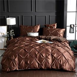 Full Size White Bedding Australia - Luxury khaki 100% Super Soft Washed Silk Duvet Cover Set 3Pcs Set Pinch Pleat Brief Bedding Sets Twin Full Queen King Size