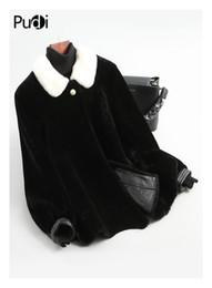 Mink Long Jacket Australia - PUDI A18208 women winter real wool black shearing mink fur lapel collar overcoat warm jacket girl coat lady Long jacket overcoat
