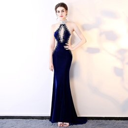 $enCountryForm.capitalKeyWord Australia - 2019 New Sexy perspective decoration body hand-stitched diamonds hanging neck night club KTV costume long evening dress