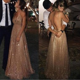 special occasion dresses open backless 2019 - 2019 Gold Deep V Neck A Line Prom Dresses Sequined Open Back Sexy Evening Party Gown Special Occasion Dress BC1004 disco