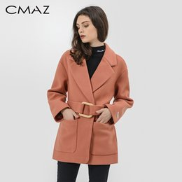 covered belts Australia - CMAZ autumn winter elegant Long Women's coat belted Jackets solid color coats Female streetwear Wool Coat MX17D9518