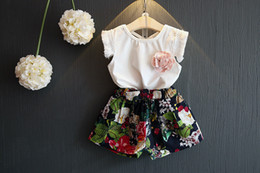 Girls Tassel Shirt Australia - New design baby girls summer fashion outfits White T-shirt tank top vest with tassel sleeve+floral shorts 2pcs set baby girls clothing set