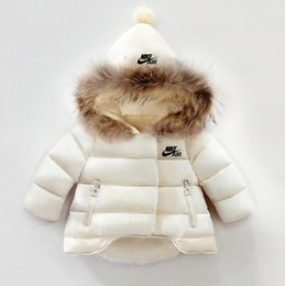 Wholesale girls down jacket fur hood for sale - Group buy kids snowsuit winter baby girls winter coat infant children clothing fur collar hooded thick jacket baby girl boy clothes