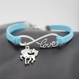 $enCountryForm.capitalKeyWord NZ - New Women Men Christmas Gift Blue Leather Suede Bracelet Silver Infinity Love Unicorn Dancing Horse Jewelry Braided Punk High Quality Bangle