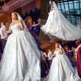 Luxury Red Train Royal Wedding Dress NZ - luxury arabic lace ball gown wedding dresses boat neck plus size appliques royal train bridal gown online short sleeves robe de mariée 2019