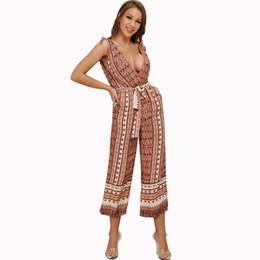 735a2cf721 Women 2019 New Vintage Floral Print Boho Jumpsuit Deep V-neck Summer Romper  Lady Overalls Long Pants Backless Playsuit
