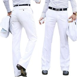 $enCountryForm.capitalKeyWord Australia - New Modis Flared pants Male Summer Straight Suit pants British leisure Free hot feet trousers Formal For Men Size 37