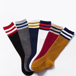Long schooL socks online shopping - Children Long Tube Socks Cotton Baby High Socks School Wind Student Stripe Sports Solid Color Socks