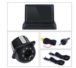 Toptan satış 4.3 inç Gece Vison Dikiz Yedekleme Kamera Ile Renkli LCD Araba Video Katlanabilir Monitör Kiti Araba Oto Park Yardımı