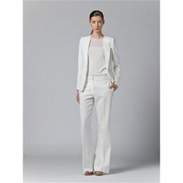Sets Velvet NZ - Office Uniform Designs Women Office Lady Suit Lady Uniform Custom Made Women Suits Blazer Suit Set One Button White Trouser Suit