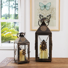 hurricane glasses wholesale Australia - Handmade American Country Style Hurricane Lamp with Hollow Metal Cut Work Golden Brushing Retro Courtyard Hanging Candle Lantern