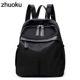 a4950d3d5615 Small Waterproof Nylon Women Backpack Fashion Black Shoulder Back School Bag  Preppy Style Backpacks For Teenage Girls