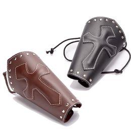$enCountryForm.capitalKeyWord UK - bracelets for small wrists Medieval Gauntlet Men Vintage Wristband Bracer Punk Cross Bandage Bracelet Armband Cosplay Props Leather Bracer
