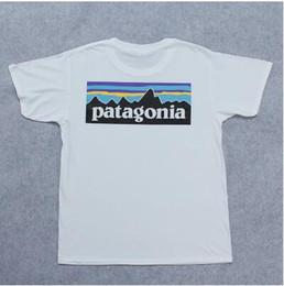 Venta al por mayor de Envío gratis de Alta calidad EE. UU. Marca Clásica PATAGONIA Letra Logo TopTee mujeres / hombres 100% algodón manga corta camiseta
