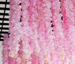 $enCountryForm.capitalKeyWord Australia - 17pcs lot 120cm Cherry Blossom Artificial Flowers Rattan Hydrangea Vine For Wedding Backdrops Decoration Wall Hanging Flores