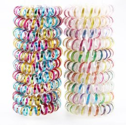 Wholesale Unique Metallic Color Hair ring Telephone Line Hair Rope Spiral Shaped Elastic Hair Rings for Girls Use freeshipping