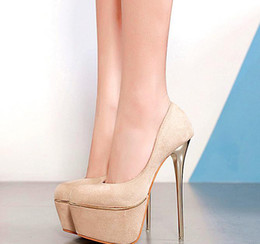 $enCountryForm.capitalKeyWord Australia - 16cm Sexy Beige Pumps Women Ultra High Heel designer shoes 2019 black nude synthetic suede size 34 to 40