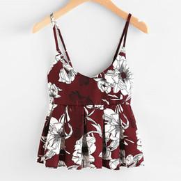 ab86edb2d82 Women Clothes 2019 Kawaii Floral Print Hem fold shirt Tops Vest Tank Cami T  Shirt Sleeveless Top Women Rave Festival Halter Top