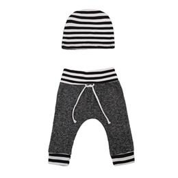 $enCountryForm.capitalKeyWord UK - Newborn Toddler Infant Baby Boys Girls Pants Striped Printed Bottom Casual Pants Hat