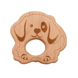 $enCountryForm.capitalKeyWord NZ - Lovely Cartoon Wooden dog Teether 10pcs Pure Natural Animal Shaped Baby Teething Care Beech Teether Baby Girl DIY Pendant Toy