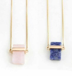 pink quartz rose pendant Australia - Natural Crystal Necklace Cuboid Pink Quartz Fashion Pendant NecklaceCustom Shape Natural Rose Quartz Cuboid Pendant Necklace