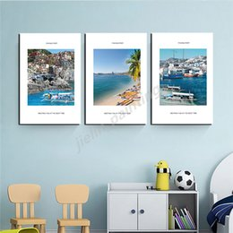 animal houses pictures Australia - Ancient Building Seaside House Fishing Port Landscape Poster Painting On Canvas Bedroom Wall Art Decoration Pictures Home Decor