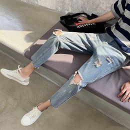 1014fabb6d0 Fashion Designer Jeans Men Brand New Ripped Jeans Men Clothes 2019 Summer  Ankle Length Hole Mens Denim Pants Man 34-28 Hot