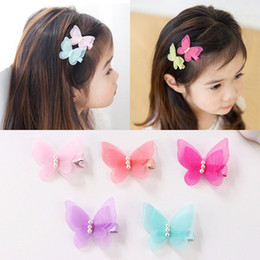 Kids Butterfly Hair Clips NZ - Baby Girl Lovely Butterfly Hair CLIP Fairy Princess HAIR Hairpin Tulle Net Fabric Pearl Barrettes Kids Girls Hair Accessories Gift