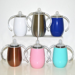 Stock Handle Australia - 12oz Sippy Cup Stainless Steel Tumbler Multicolor Flask with Handle Wine Glasse with Lid Stemless Water Bottle xj