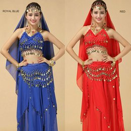 gold skirt suits 2019 - High Grade Belly Dance Suit New Indian Dance Costumes Stage Performance Sequin Polyester Skirt Set Belly Clothes For Wom