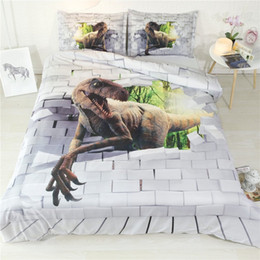 $enCountryForm.capitalKeyWord Australia - Boys Plaid Bedding Cover Sets Dinosaur Kids Teens Adults Ancient Animal 3 Piece Duvet Cover With 2 Pillow Shams Bed Set Comforter Cover
