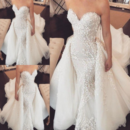 layered tulle wedding dress beach 2019 - Sweetheart Mermaid Wedding Dresses With 3D Lace Appliques Tulle Spring Summer Country Overskirts Wedding Dress Layered T