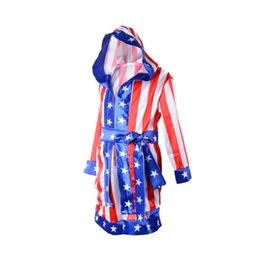 China Boy Boxing Costume Kids Rocky Balboa Robe Movie Apollo Cospla American Flag Pattern Italian stallion Halloween mascot Costume For Kids suppliers