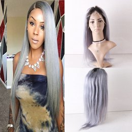 $enCountryForm.capitalKeyWord Australia - Glueless Full Lace Grey Hair Wigs Virgin Brazilian Human Hair Gray Lace Front Wig With Baby Hair