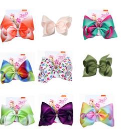 "Hair Combs For Girls Australia - Drop shipping8"" JoJo Bows Hair Clip Large Hair Bow Kids Handmade Metalic Printed Ribbon Knot Jumbo JOJO SIWA Hair Accessories For Girl 10pcs"