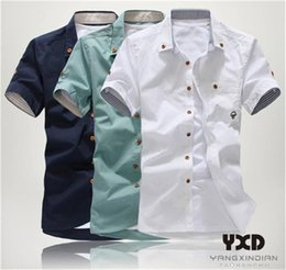 Wholesale kpop short shirts online – design 3XL Solid Male Blouse New Brand Summer Short Sleeve Shirts For Men Slim Fit Kpop Embroidered Teenagers Dress Man Casual Shirt