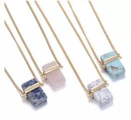 $enCountryForm.capitalKeyWord NZ - Natural Stone Pendants Rectangle Natural Crystal Stone Stone Pendant Necklaces Quartz Stones Necklace Rectangular Crystal Necklace MOQ 10pcs