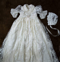 $enCountryForm.capitalKeyWord Australia - 2019 Short Sleeves Christening Gowns For Baby Girls Lace Appliqued Pearls Baptism Dresses With Bonnet First Holy Communication Gowns