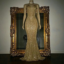 Golden Mermaid Gown Australia - 2018 Golden Halter Sequined Mermaid Long Prom Dresses Sexy Low Back Floor Length Evening Gowns Formal Party Dresses Wear