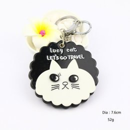 $enCountryForm.capitalKeyWord NZ - Cat design round mirror keychain acrylic cosmetic mirror keycharm white&black keyholder promotion gifts pocket mirror keyring accessories