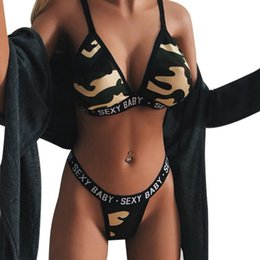 54b9067191 2019 New Women Sexy Swimsuit Biquinis feminino Camouflage Letter Print Swimming  Suit Push Up Beachwear Summer Thong Bikini Set