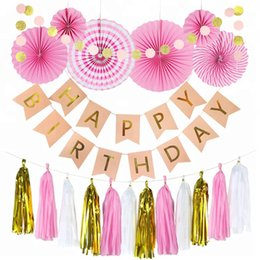 $enCountryForm.capitalKeyWord Australia - Happy Birthday Party Decoration with Banner Flage Party decoration Supplies Party Tissue Paper Flower Birthday Supplies Black Pink Color