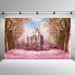 fairy photo background 2019 - Cherry Pink Flowers Spring Photography Backdrop Rainbow Fairy tale Castle baby shower Children Princess Photo Background
