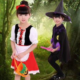 Wholesale cos clothes resale online - Halloween Clothing Children Woman Show Serve Witch Dress Cos Small Red Hat Girl Masquerade Princess Skirt Performance