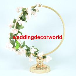 Decor Tables Australia - new round stand wedding display stand table centerpiece decoration metal decor gold silver white column vase
