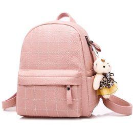 7b5c8a99daac Trendy Girl Backpacks Australia - Trendy Women Plaid Backpacks Teen Girls  Shoulder Bag Backpack With Bear