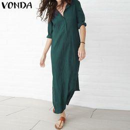 b9d37ba9 Zanzea Women Dress 2018 Autumn Casual Loose Maxi Long Party Dresses Sexy  Thin V Neck Long Sleeve Split Cotton Vestidos Plus Size Y19012201