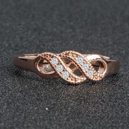 Rose Ring Austria Australia - Wave fashion styling rose gold wedding female ring Austria crystal beautiful jewelry ladies fashion engagement ring