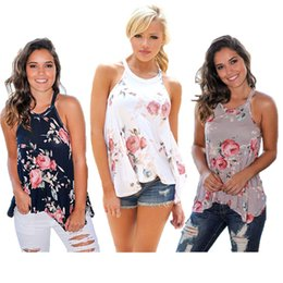 Floral Tees Wholesale Clothing Australia - Women Summer Floral Sleeveless Vest Tank Top Loose T Shirt Neck Strap Irregular Casual T-shirt Tee Beach Travel Ladies Clothes S-3xl B42602